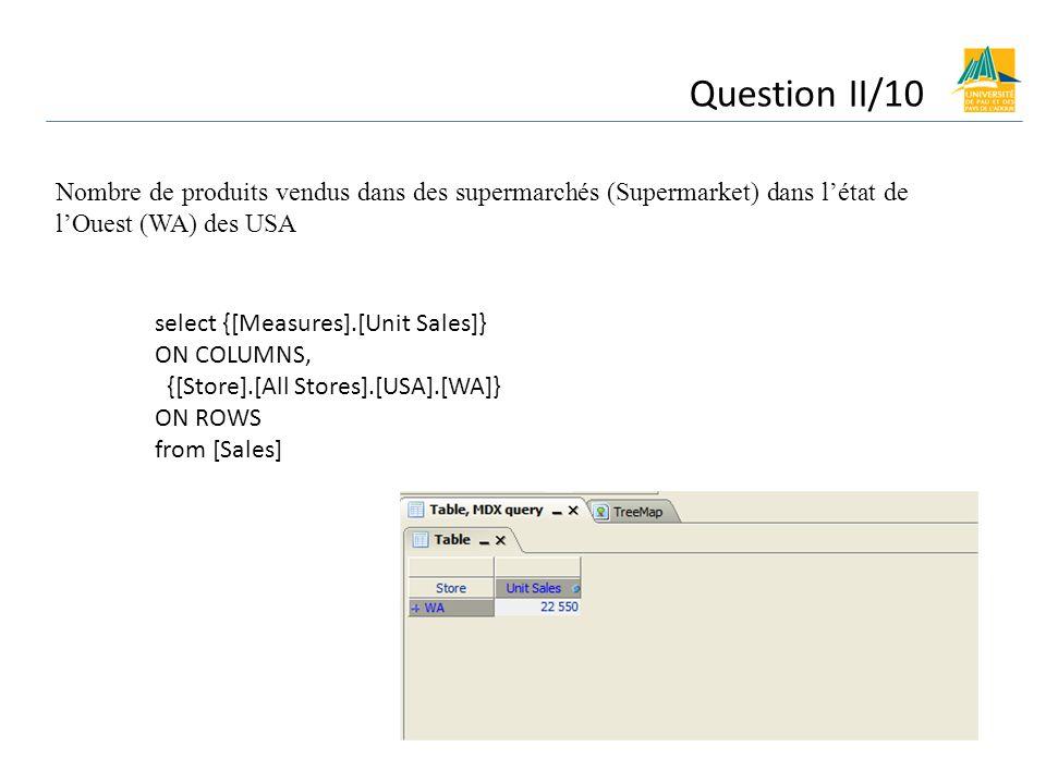 Question II/10 Nombre de produits vendus dans des supermarchés (Supermarket) dans létat de lOuest (WA) des USA select {[Measures].[Unit Sales]} ON COLUMNS, {[Store].[All Stores].[USA].[WA]} ON ROWS from [Sales]
