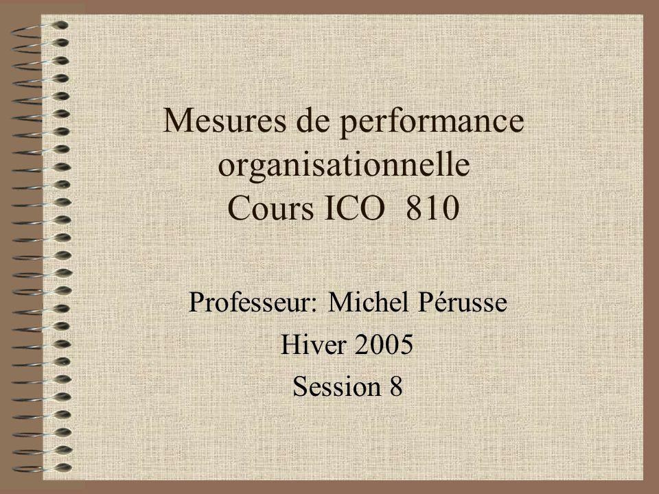Mesures de performance organisationnelle Cours ICO 810 Professeur: Michel Pérusse Hiver 2005 Session 8