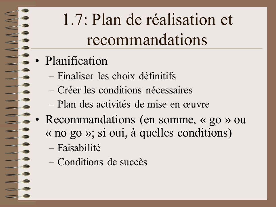 1.7: Plan de réalisation et recommandations Planification –Finaliser les choix définitifs –Créer les conditions nécessaires –Plan des activités de mise en œuvre Recommandations (en somme, « go » ou « no go »; si oui, à quelles conditions) –Faisabilité –Conditions de succès