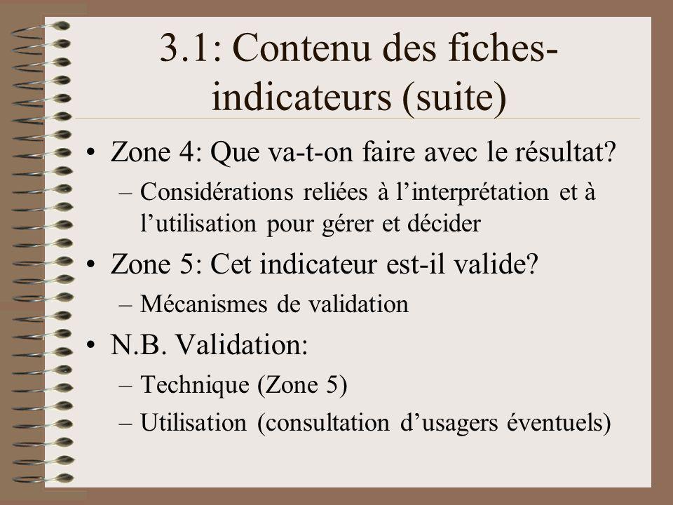 3.1: Contenu des fiches- indicateurs (suite) Zone 4: Que va-t-on faire avec le résultat.