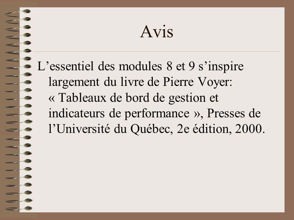 Avis Lessentiel des modules 8 et 9 sinspire largement du livre de Pierre Voyer: « Tableaux de bord de gestion et indicateurs de performance », Presses de lUniversité du Québec, 2e édition, 2000.
