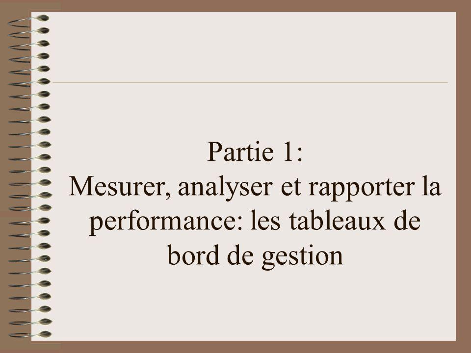 Partie 1: Mesurer, analyser et rapporter la performance: les tableaux de bord de gestion