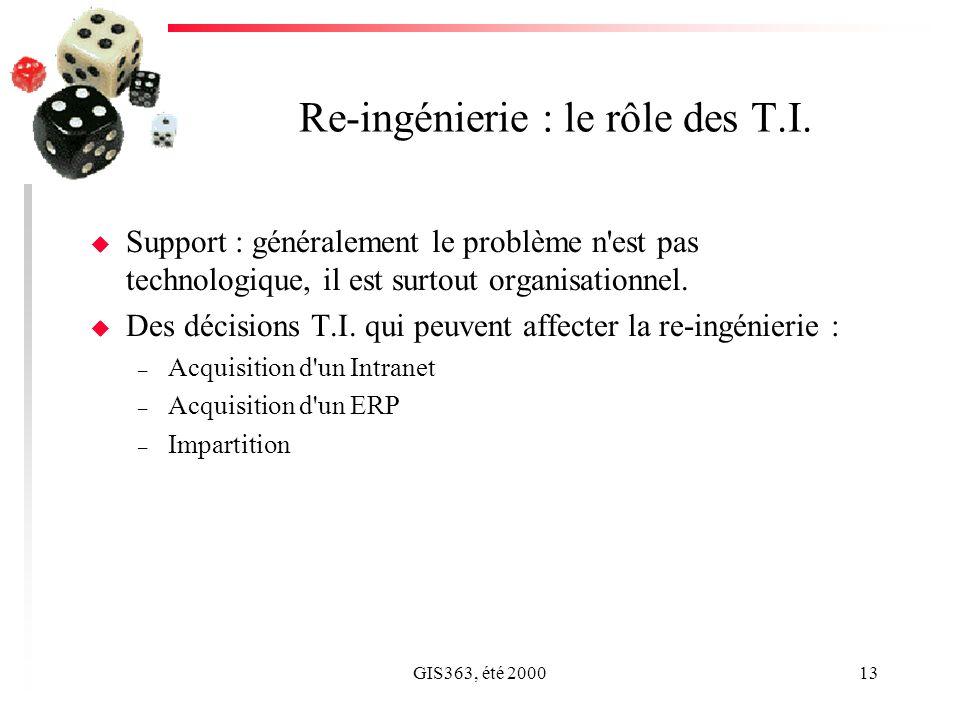 GIS363, été 200013 Re-ingénierie : le rôle des T.I. u Support : généralement le problème n'est pas technologique, il est surtout organisationnel. u De