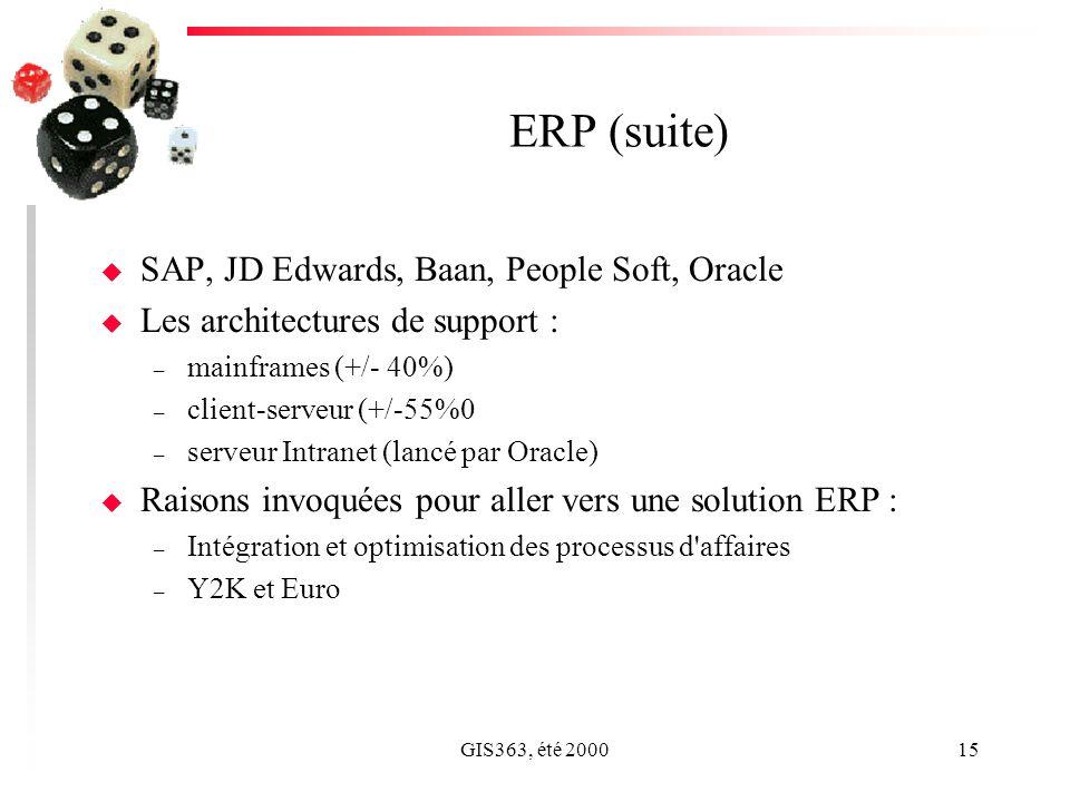 GIS363, été 200015 ERP (suite) u SAP, JD Edwards, Baan, People Soft, Oracle u Les architectures de support : – mainframes (+/- 40%) – client-serveur (+/-55%0 – serveur Intranet (lancé par Oracle) u Raisons invoquées pour aller vers une solution ERP : – Intégration et optimisation des processus d affaires – Y2K et Euro