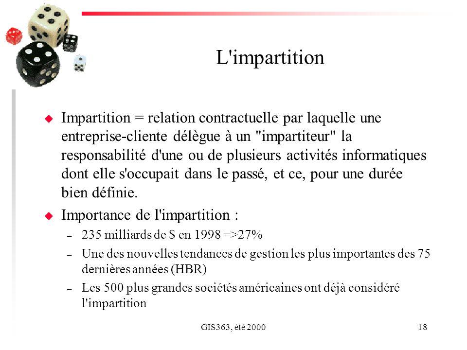 GIS363, été 200018 L impartition u Impartition = relation contractuelle par laquelle une entreprise-cliente délègue à un impartiteur la responsabilité d une ou de plusieurs activités informatiques dont elle s occupait dans le passé, et ce, pour une durée bien définie.