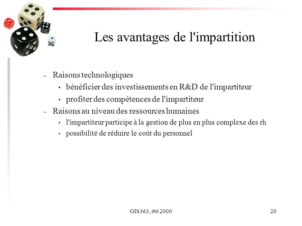 GIS363, été 200020 Les avantages de l'impartition – Raisons technologiques bénéficier des investissements en R&D de l'impartiteur profiter des compéte