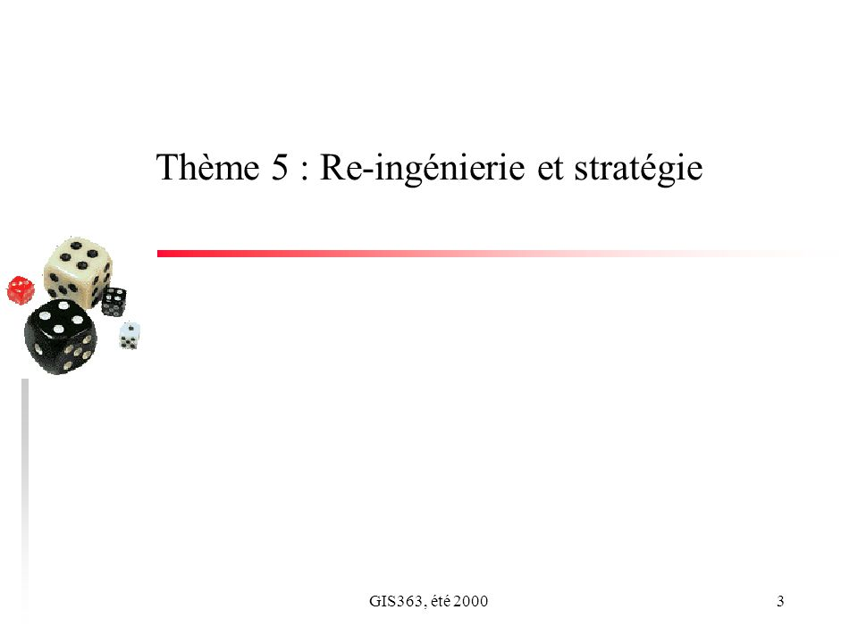 GIS363, été 20003 Thème 5 : Re-ingénierie et stratégie