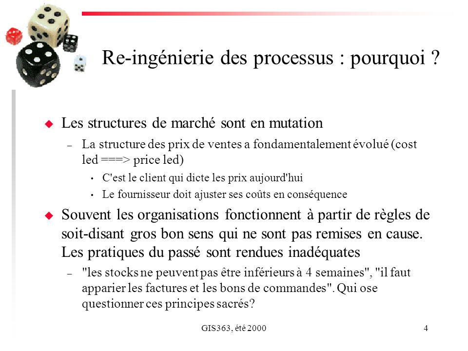 GIS363, été 20004 Re-ingénierie des processus : pourquoi ? u Les structures de marché sont en mutation – La structure des prix de ventes a fondamental