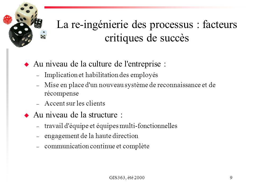 GIS363, été 20009 La re-ingénierie des processus : facteurs critiques de succès u Au niveau de la culture de l'entreprise : – Implication et habilitat