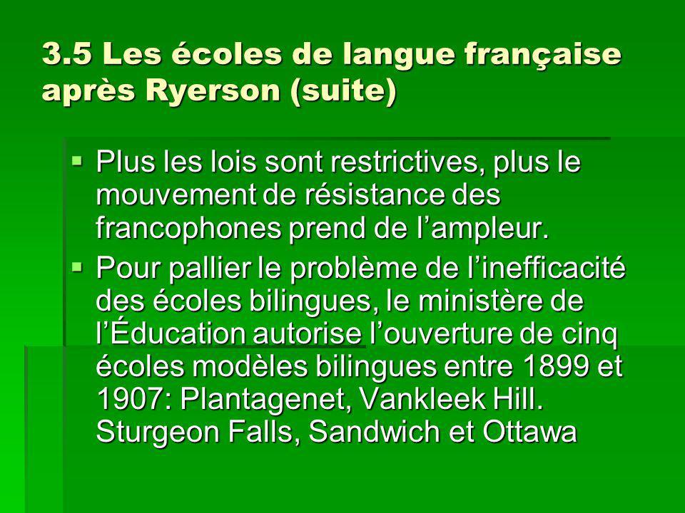 3.5 Les écoles de langue française après Ryerson (suite) Plus les lois sont restrictives, plus le mouvement de résistance des francophones prend de lampleur.