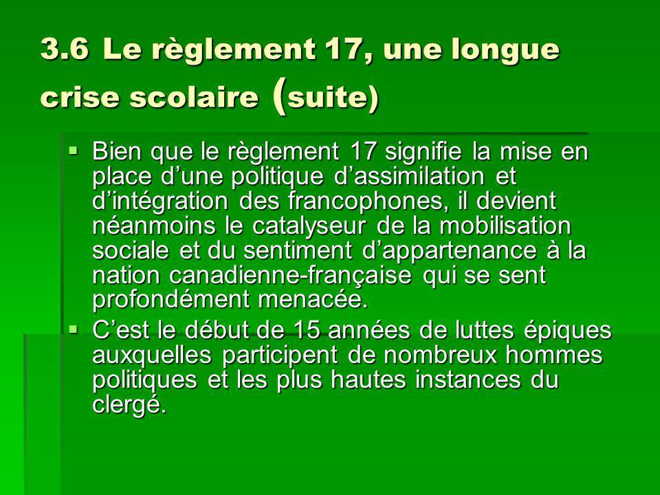 3.6 Le règlement 17, une longue crise scolaire ( suite) Bien que le règlement 17 signifie la mise en place dune politique dassimilation et dintégration des francophones, il devient néanmoins le catalyseur de la mobilisation sociale et du sentiment dappartenance à la nation canadienne-française qui se sent profondément menacée.