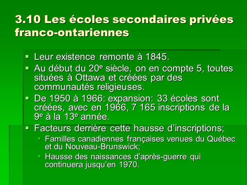 3.10 Les écoles secondaires privées franco-ontariennes Leur existence remonte à 1845. Leur existence remonte à 1845. Au début du 20 e siècle, on en co