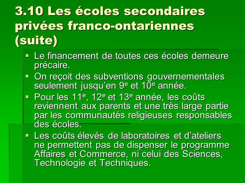3.10 Les écoles secondaires privées franco-ontariennes (suite) Le financement de toutes ces écoles demeure précaire. Le financement de toutes ces écol