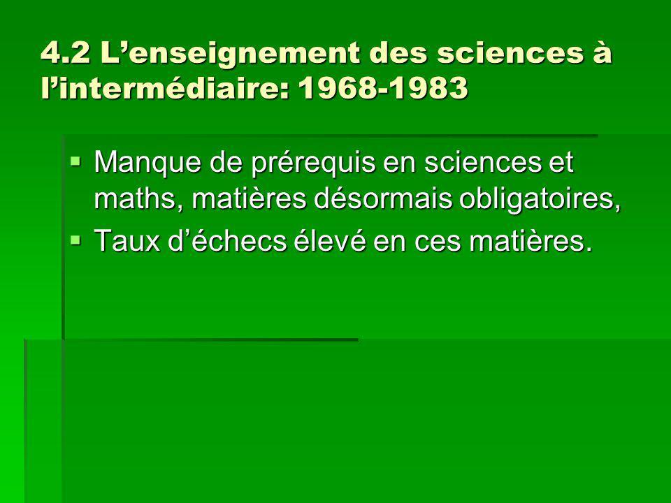 4.2 Lenseignement des sciences à lintermédiaire: 1968-1983 Manque de prérequis en sciences et maths, matières désormais obligatoires, Manque de préreq