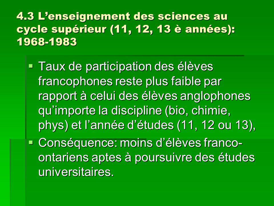 4.3 Lenseignement des sciences au cycle supérieur (11, 12, 13 è années): 1968-1983 Taux de participation des élèves francophones reste plus faible par rapport à celui des élèves anglophones quimporte la discipline (bio, chimie, phys) et lannée détudes (11, 12 ou 13), Taux de participation des élèves francophones reste plus faible par rapport à celui des élèves anglophones quimporte la discipline (bio, chimie, phys) et lannée détudes (11, 12 ou 13), Conséquence: moins délèves franco- ontariens aptes à poursuivre des études universitaires.