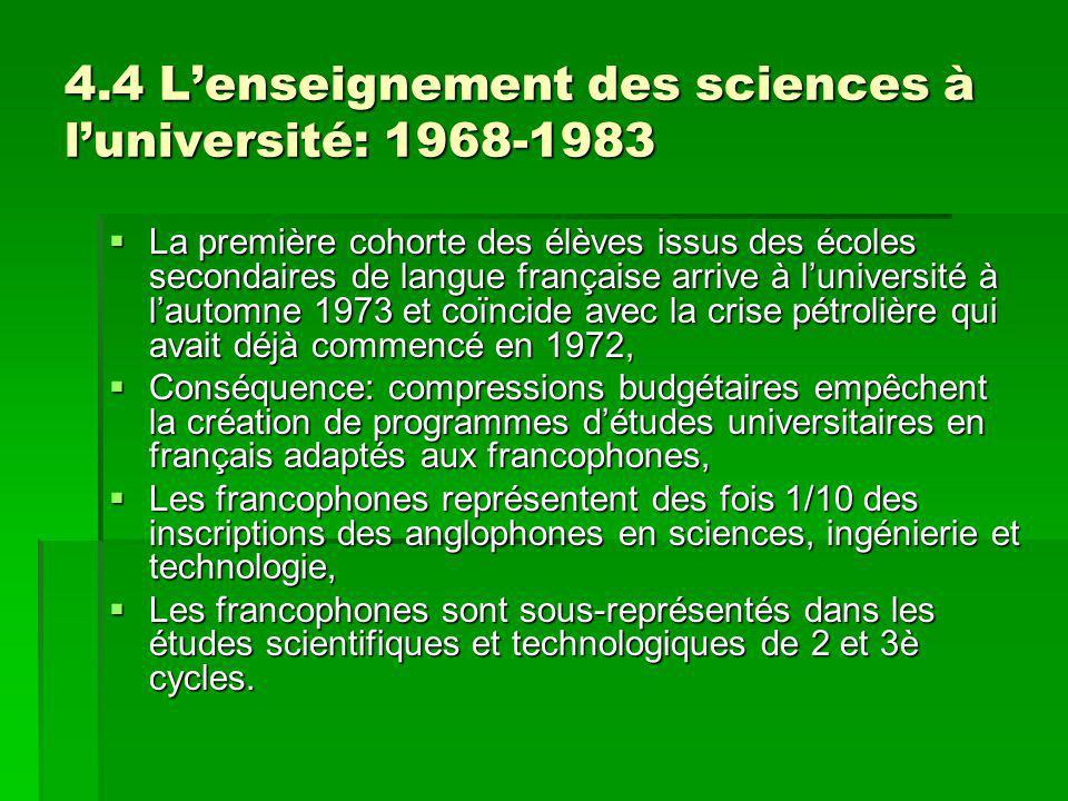 4.4 Lenseignement des sciences à luniversité: 1968-1983 La première cohorte des élèves issus des écoles secondaires de langue française arrive à luniv