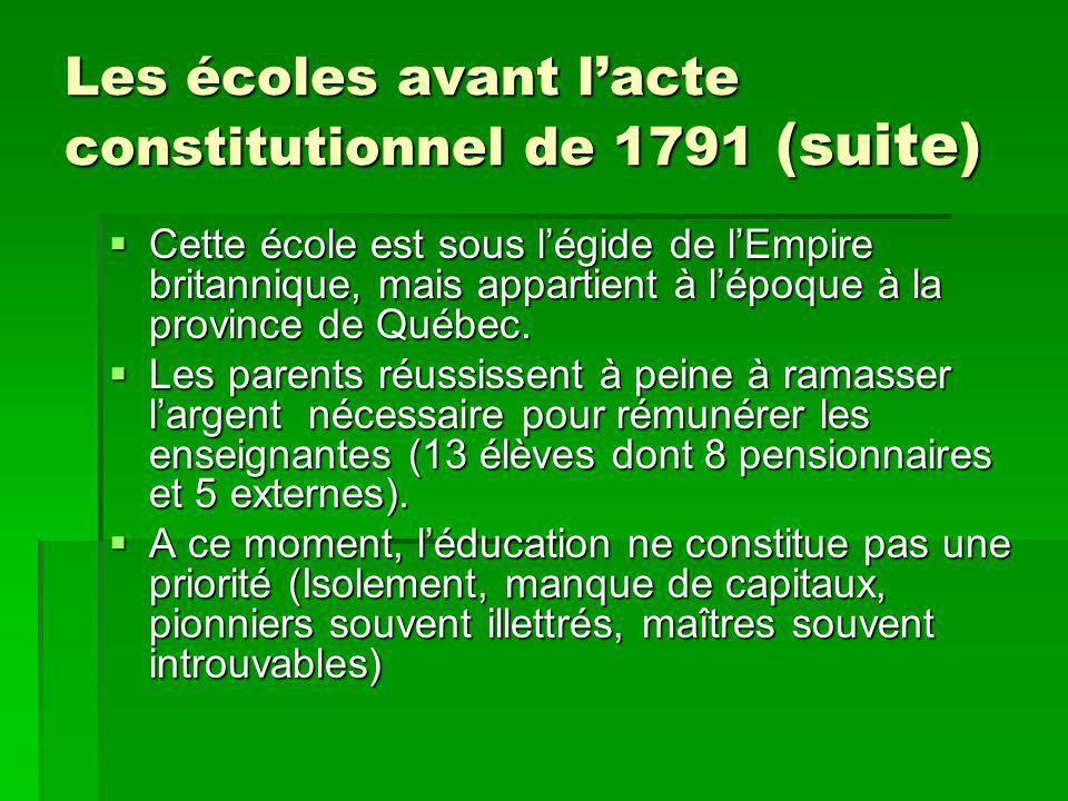 Les écoles avant lacte constitutionnel de 1791 (suite) Cette école est sous légide de lEmpire britannique, mais appartient à lépoque à la province de Québec.