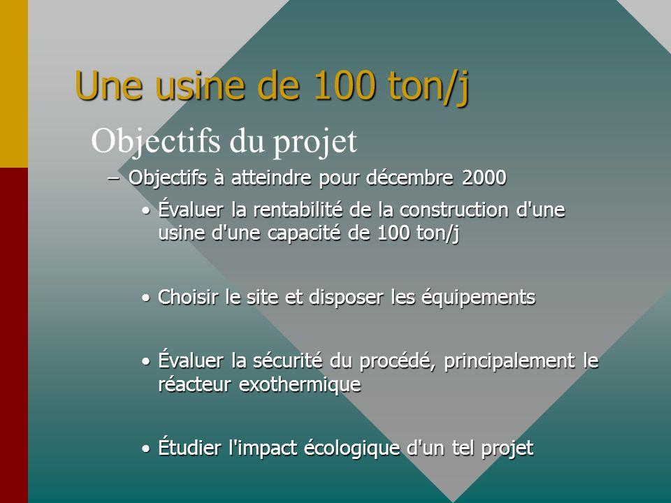 Une usine de 100 ton/j –Objectifs à atteindre pour décembre 2000 Évaluer la rentabilité de la construction d'une usine d'une capacité de 100 ton/jÉval