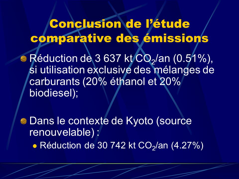 Conclusion de létude comparative des émissions Réduction de 3 637 kt CO 2 /an (0.51%), si utilisation exclusive des mélanges de carburants (20% éthano
