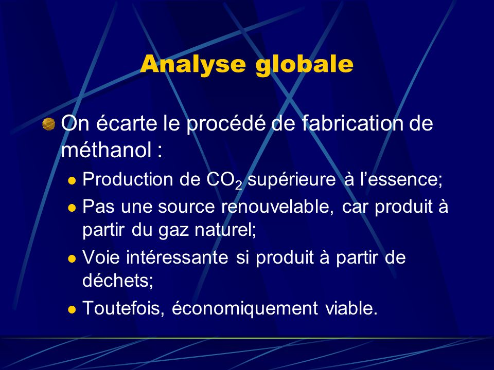Analyse globale On écarte le procédé de fabrication de méthanol : Production de CO 2 supérieure à lessence; Pas une source renouvelable, car produit à