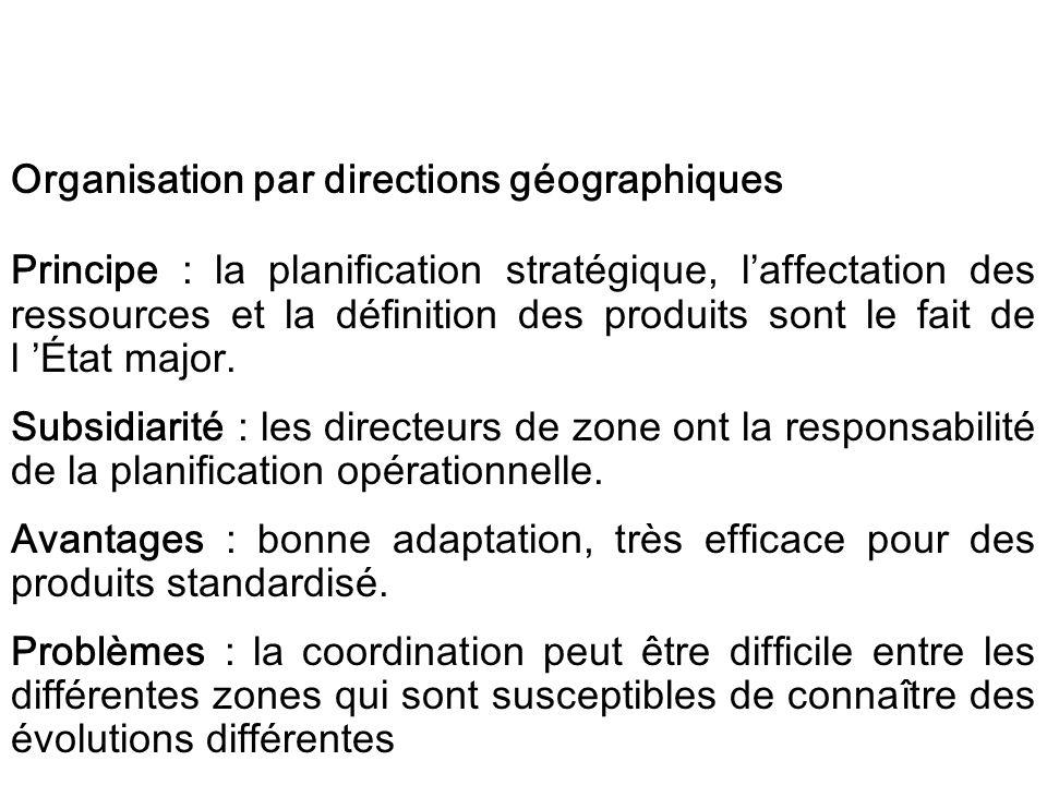 Organisation par directions géographiques Principe : la planification stratégique, laffectation des ressources et la définition des produits sont le f