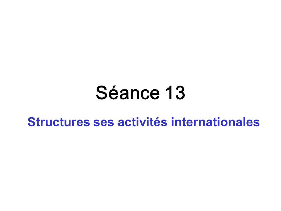 Séance 13 Structures ses activités internationales
