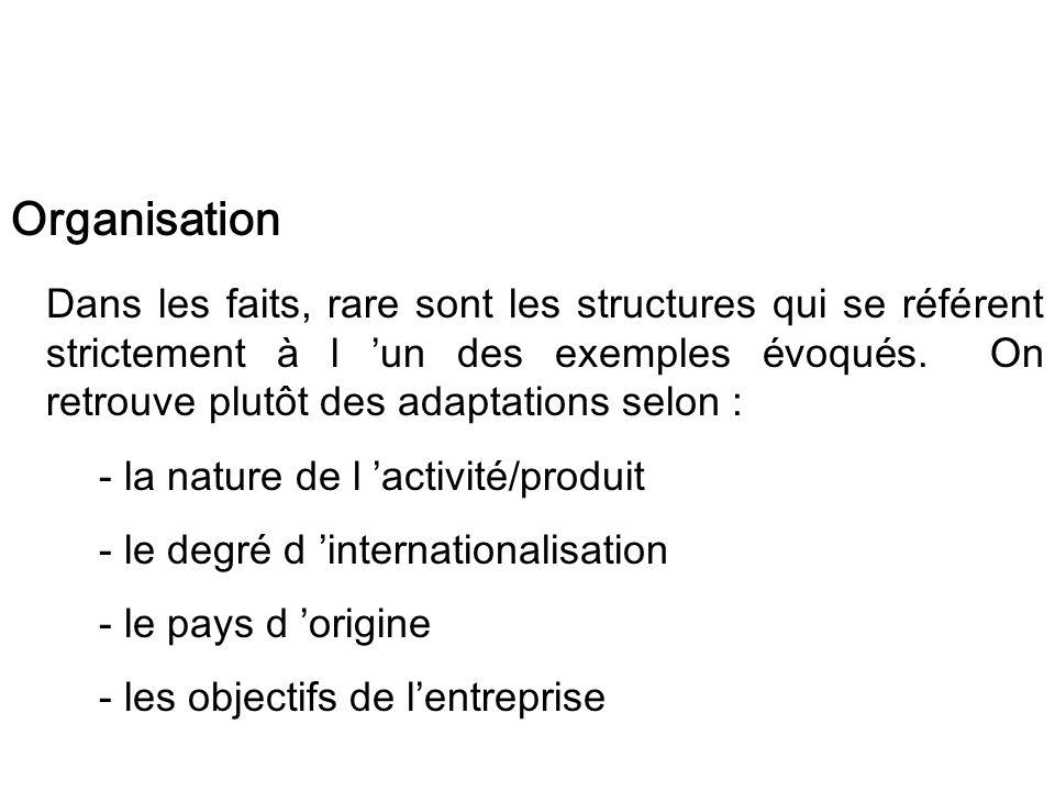 Organisation Dans les faits, rare sont les structures qui se référent strictement à l un des exemples évoqués. On retrouve plutôt des adaptations selo
