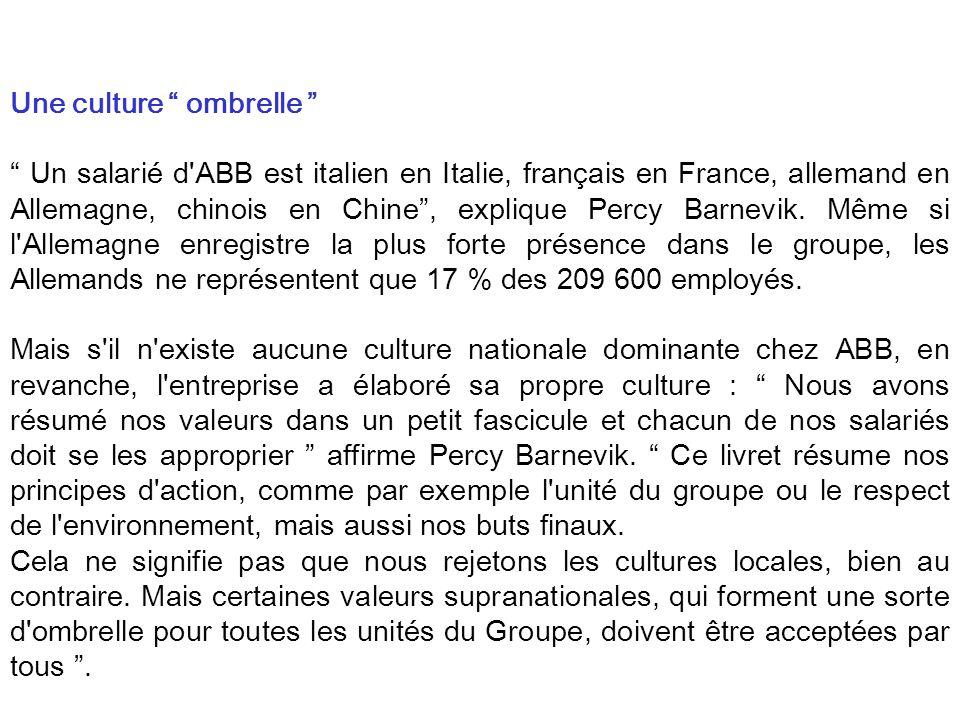 Une culture ombrelle Un salarié d'ABB est italien en Italie, français en France, allemand en Allemagne, chinois en Chine, explique Percy Barnevik. Mêm