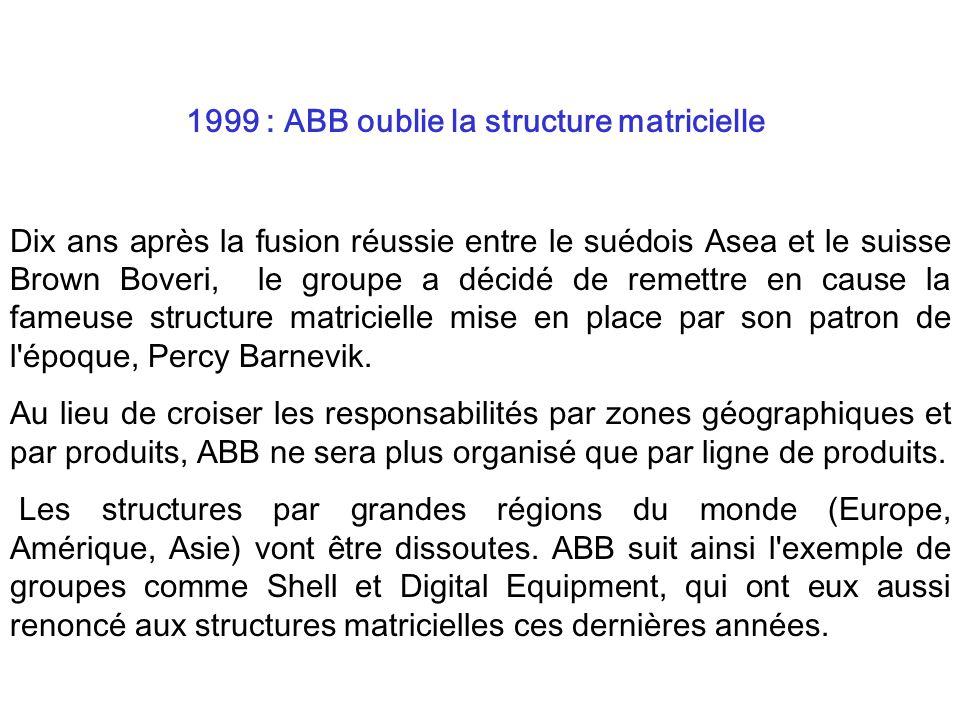 Dix ans après la fusion réussie entre le suédois Asea et le suisse Brown Boveri, le groupe a décidé de remettre en cause la fameuse structure matricie