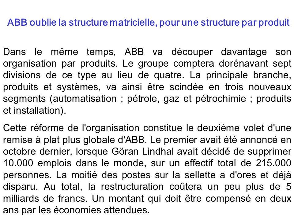 Dans le même temps, ABB va découper davantage son organisation par produits. Le groupe comptera dorénavant sept divisions de ce type au lieu de quatre