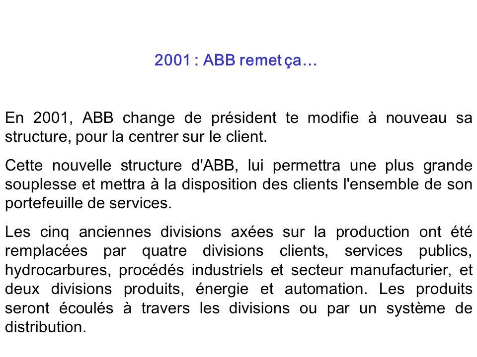En 2001, ABB change de président te modifie à nouveau sa structure, pour la centrer sur le client. Cette nouvelle structure d'ABB, lui permettra une p