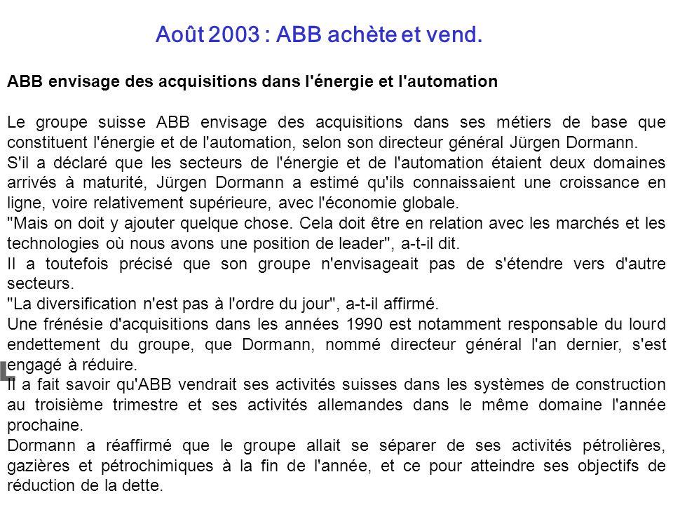 Août 2003 : ABB achète et vend. ABB envisage des acquisitions dans l'énergie et l'automation Le groupe suisse ABB envisage des acquisitions dans ses m