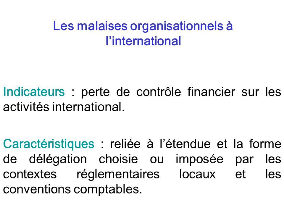 Indicateurs : perte de contrôle financier sur les activités international. Caractéristiques : reliée à létendue et la forme de délégation choisie ou i
