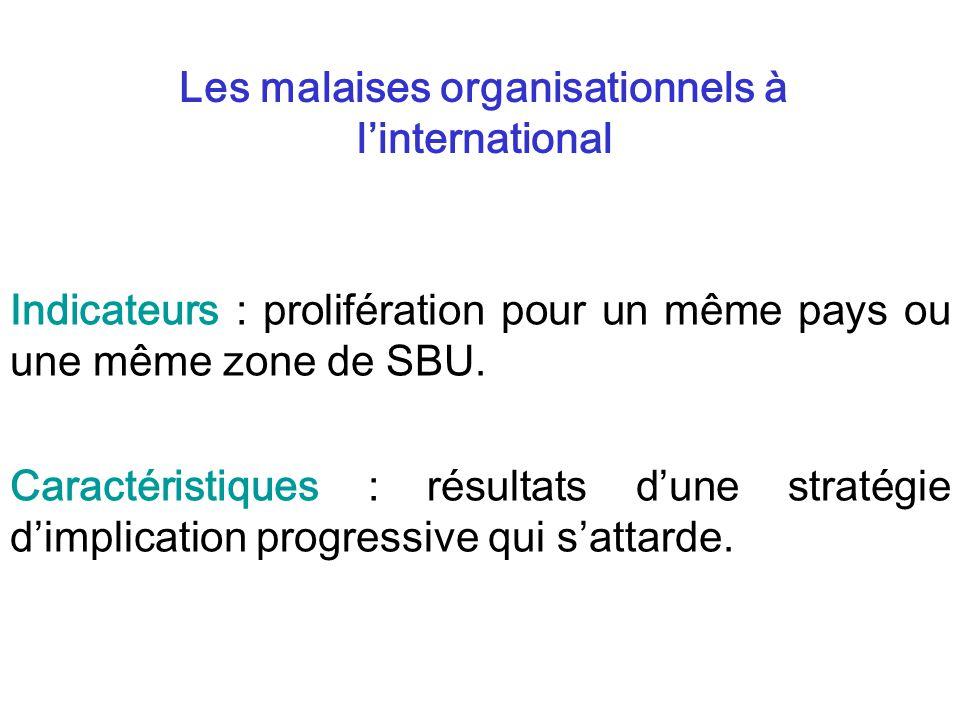 Indicateurs : prolifération pour un même pays ou une même zone de SBU. Caractéristiques : résultats dune stratégie dimplication progressive qui sattar