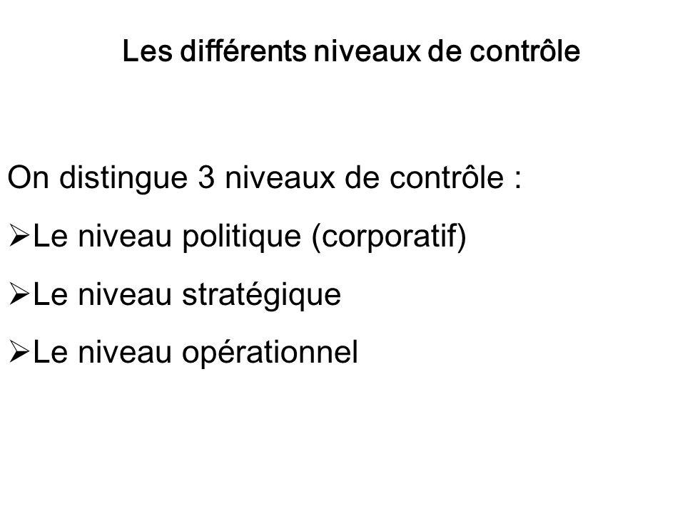 Les différents niveaux de contrôle On distingue 3 niveaux de contrôle : Le niveau politique (corporatif) Le niveau stratégique Le niveau opérationnel