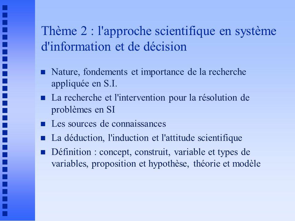 Thème 2 : l'approche scientifique en système d'information et de décision n Nature, fondements et importance de la recherche appliquée en S.I. n La re