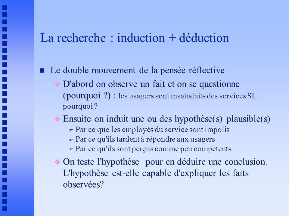 La recherche : induction + déduction n Le double mouvement de la pensée réflective u D abord on observe un fait et on se questionne (pourquoi ?) : les usagers sont insatisfaits des services SI, pourquoi .