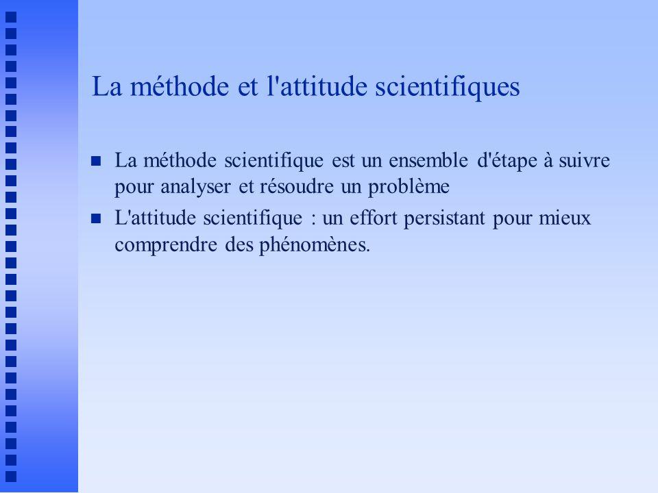 La méthode et l attitude scientifiques n La méthode scientifique est un ensemble d étape à suivre pour analyser et résoudre un problème n L attitude scientifique : un effort persistant pour mieux comprendre des phénomènes.