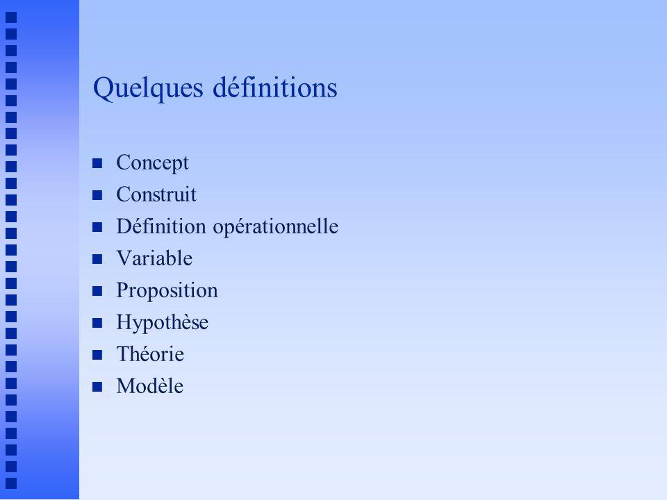 Quelques définitions n Concept n Construit n Définition opérationnelle n Variable n Proposition n Hypothèse n Théorie n Modèle