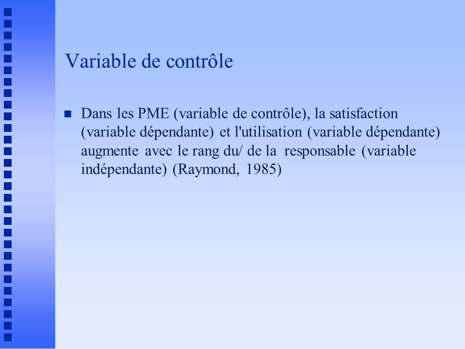 Variable de contrôle n Dans les PME (variable de contrôle), la satisfaction (variable dépendante) et l utilisation (variable dépendante) augmente avec le rang du/ de la responsable (variable indépendante) (Raymond, 1985)