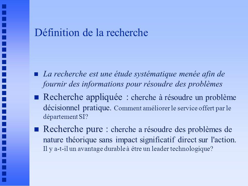 Définition de la recherche n La recherche est une étude systématique menée afin de fournir des informations pour résoudre des problèmes n Recherche ap