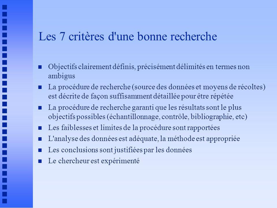 Les 7 critères d'une bonne recherche n Objectifs clairement définis, précisément délimités en termes non ambigus n La procédure de recherche (source d