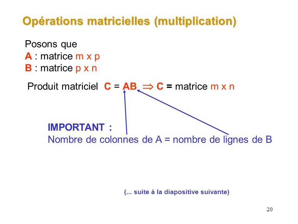 20 Opérations matricielles (multiplication) Posons que A : matrice m x p B : matrice p x n Produit matriciel C = AB C = matrice m x n IMPORTANT : Nomb