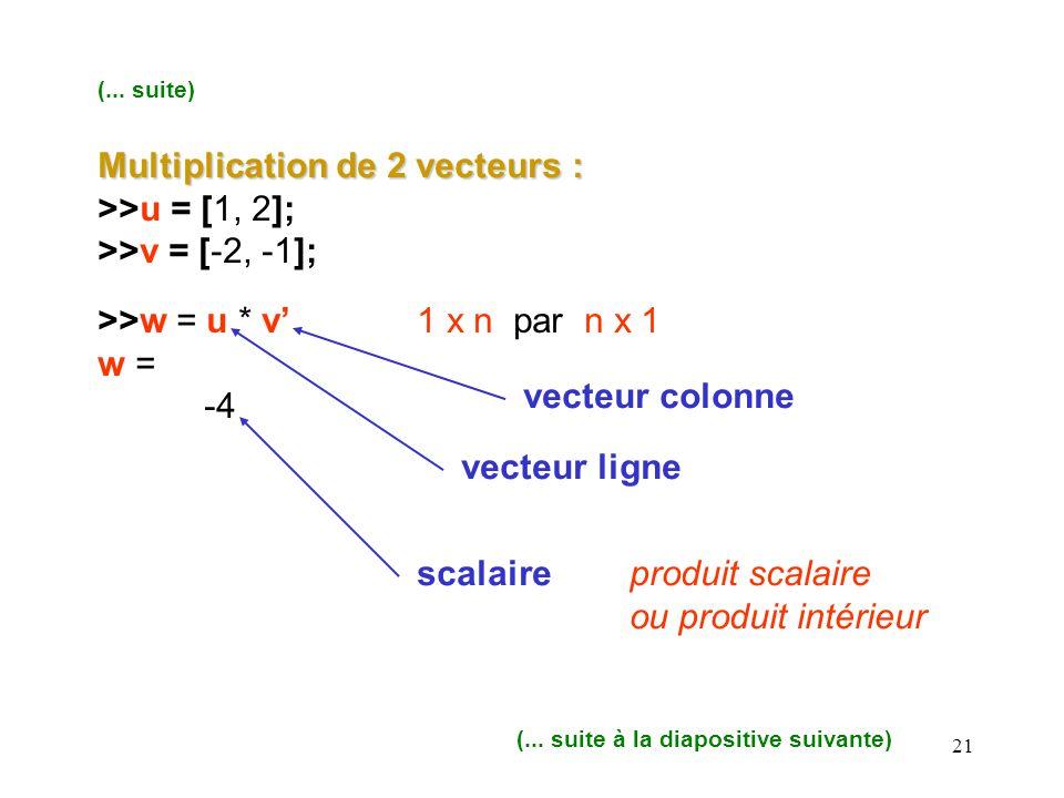 21 (... suite) Multiplication de 2 vecteurs : >>u = [1, 2]; >>v = [-2, -1]; >>w = u * v1 x n par n x 1 w = -4 vecteur colonne vecteur ligne scalairepr