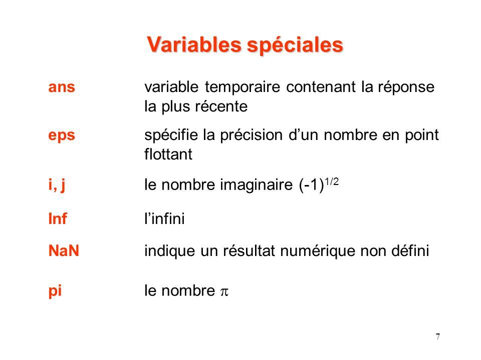 8 Commandes pour la gestion dune session : clcnettoie la fenêtre dite Command clearenlève les variables de la mémoire exist (nom)détermine si un fichier existant ou une variable a le nom nom help nomrecherche en ligne pour le sujet nom lookfor nomrecherche laide pour le mot-clé nom quitarrête Matlab whoénumère les variables courantes en mémoire whosénumère les variables actuelles et leur dimension