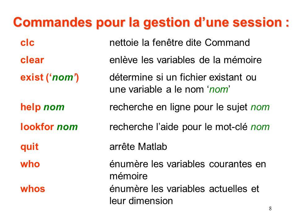 8 Commandes pour la gestion dune session : clcnettoie la fenêtre dite Command clearenlève les variables de la mémoire exist (nom)détermine si un fichi