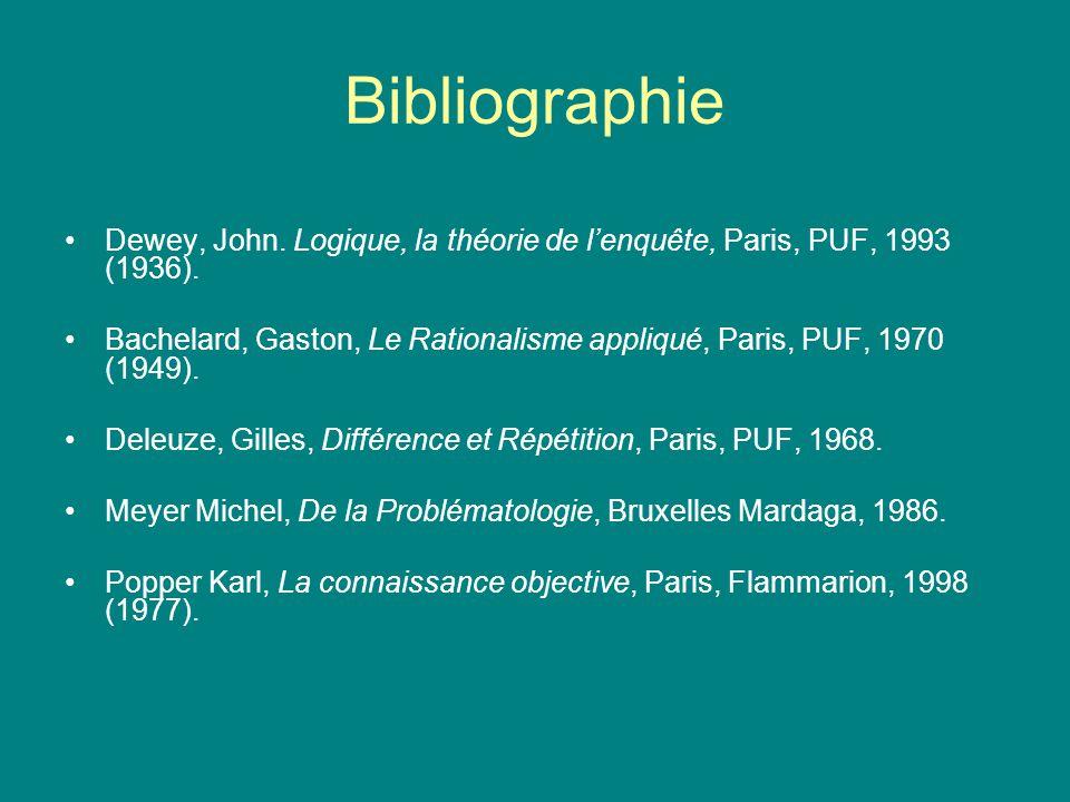 Bibliographie Dewey, John. Logique, la théorie de lenquête, Paris, PUF, 1993 (1936). Bachelard, Gaston, Le Rationalisme appliqué, Paris, PUF, 1970 (19