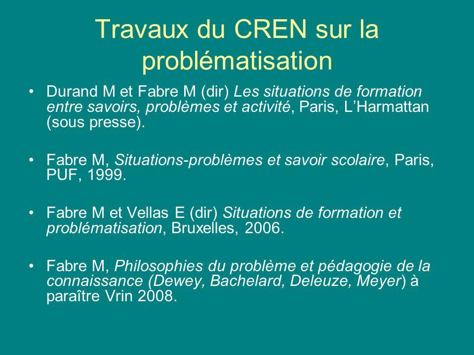 Travaux du CREN sur la problématisation Durand M et Fabre M (dir) Les situations de formation entre savoirs, problèmes et activité, Paris, LHarmattan