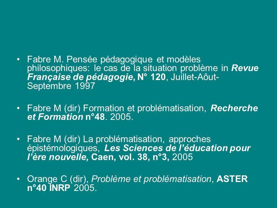 Fabre M. Pensée pédagogique et modèles philosophiques: le cas de la situation problème in Revue Française de pédagogie, N° 120, Juillet-Aôut- Septembr