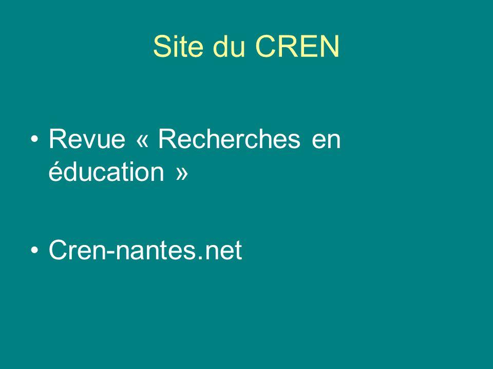 Site du CREN Revue « Recherches en éducation » Cren-nantes.net